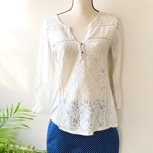 Lucky Brand Ivory/Cream Boho Lace 3/4 Sleeve Top